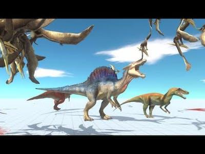 NEW Flying Pteranodon Attack vs Scary TREX Spinosaurus Dinosaurs -Animal Revolt Battle Simulator DDC