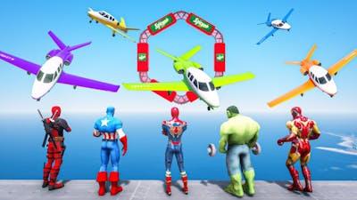 Superheroes Competition | Spiderman, Hulk, Ironman Flying Airplane Challenge #172