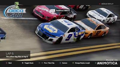 nascar heat 4, 24 lap race at Talladega *Huge Crashes*
