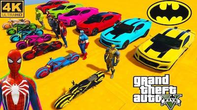 SPIDERMAN CARS Racing Challenge in Concrete Jungle ! SUPERHERO Car HULK Iron Man Goku Race GTA 5 4K