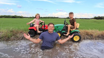 Playing in the mud and watering hay with kids tractors | Tractors for kids