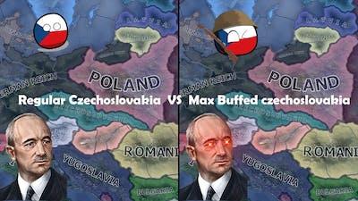 Max Buffed Czechoslovakia vs Regular Czechoslovakia | Double Timelapse (HOI4 AI Only)