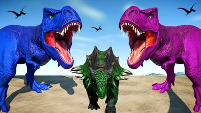 Dinosaurs Fighting in Jurassic World Evolution T-Rex vs  Winged I-Rex vs Stegosaurus, Stegoceratops
