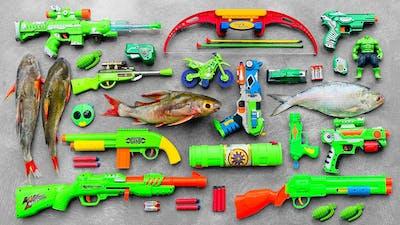 HULK Action Series Guns & Equipment, Giant River Monsters, Realistic M249 Machine Gun, Bow & Arrow