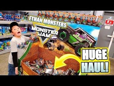 BIGGEST ETHAN MONSTER JAM HAUL!! HUGE DISPLAY FULL OF RARE MONSTER TRUCKS! WE BUY SO MANY AT WALMART