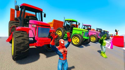 TRACTOR COLORS and FUN BIKES for kids and babies cartoon with superheroes