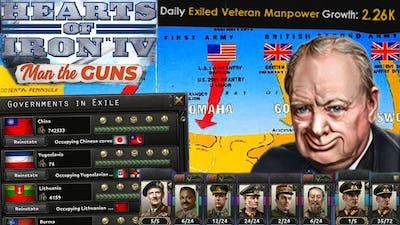 Exiled Divisions Only! Making Everyone Else Fight the War for us - Hearts of Iron 4 Man the Guns
