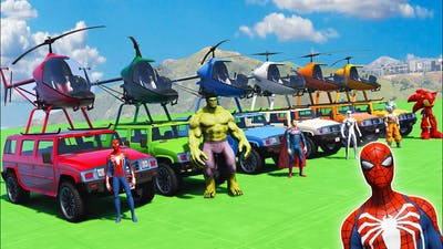 SPIDERMAN JEEP cars and HELICOPTER w/ Superheroes Hulk Ironman Challenge - GTA 5 Swaggy Ep.4