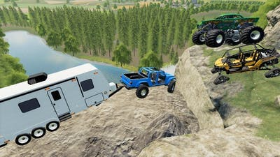 Camping on dangerous mountain with Monster truck   Farming Simulator 19