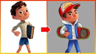 Luca Glow Up Into Subway Surfers Game Character Jake - Luca Pixar Disney Cartoon