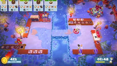 Overcooked 2 Seasonal Content (Kevin's Christmas Cracker) Level 1-5 Gameplay 4 star (2 player co-op)
