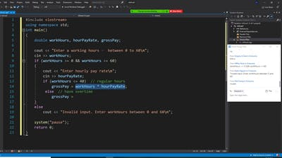 C++ programming, calculate grosspay with regular and overtime, overtime pay 1.5 times than regular