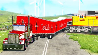 Giant Long Road Trains crashes #9 - Beamng drive