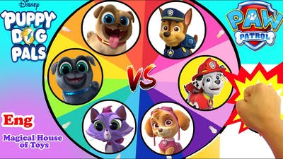 Puppy Dog Pals vs Paw Patrol Spinning Wheel Game with Hidden Treasure and the Best Surprise Toys