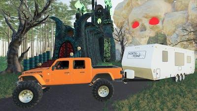 Camper stranded in haunted swamp   Farming Simulator 19 camping and mudding