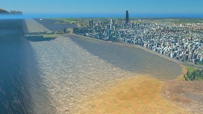 Mega Tsunami destroys Chicago   Cities Skylines Tsunami #113