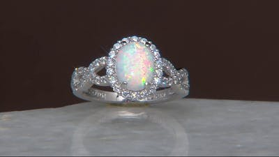 Diamonique and Synthetic Opal Ring, Sterling on QVC