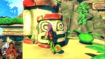 Playing game together with my sister's little daughter. Game is Yooka-LaYLee