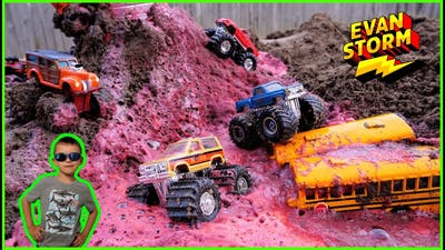 Monster Trucks Lava  Super Chargers Building Dirt Pile Race Track with Dirt Squad