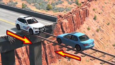 Cars vs Train Tracks Bridge - BeamNG Drive - 🔥 ULTIMATE Edition Compilation