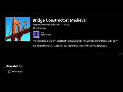 Bridge Constructor Medieval On Windows Phone