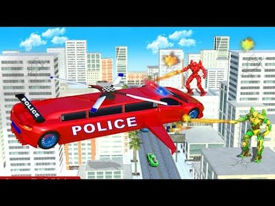 Flying Limo Police Helicopter Part-1 | Rescue City Car Robot Android GamePlay | By Game Crazy