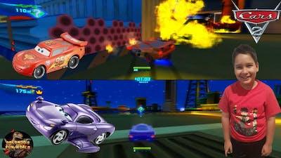 DISNEY PIXAR CARS 2 PC GAMEPLAY - OIL RIG SHOWDOWN HUNTER - MCQUEEN VS HOLLEY