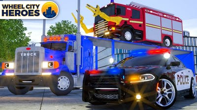 Join Fire Truck Repairing Helicopter Spinner with Police Car Wheel City Heroes (WCH) New 3D Cartoon