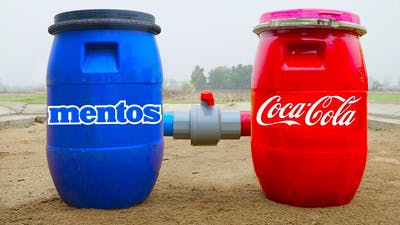Experiment: Giant Crate of Coca Cola and Mentos