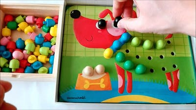Learn colors with animals mosaic: dog puzzle game for kids
