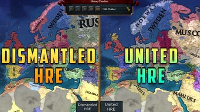 [EU4] Dismantled HRE vs United HRE - Double Timelapse (AI only)