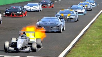 Bugatti Hypercars vs Formula Jet Engine - Drag Race 20 KM