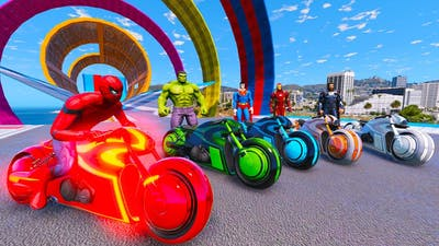 Spider Man ,  Super man and Iron with Super Motorcycle Challenge motorbike with heroes - GTA 5 MODS
