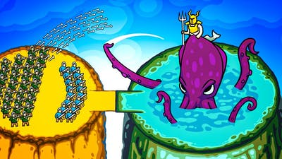 Giant ARMY vs Kraken Lord Boss Fight Invasion Army in Circle Empires Rivals Multiplayer Gameplay!