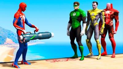 GTA 5 Spiderman vs Green Lantern vs Red Lantern vs Yellow Lantern Jumps/Fails (Funny Moments)