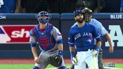 Crazy Bautista bat flip!