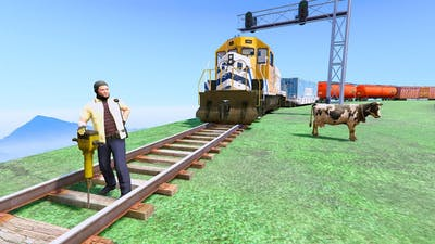 Michael Stop The Train in GTA 5? #6 - (FUNNY MOMENTS)