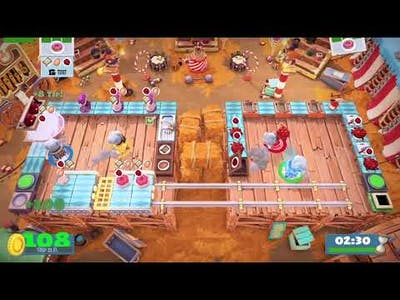 Overcooked 2: Carnival of Chaos- Level 2-1, 4 STARS!!!