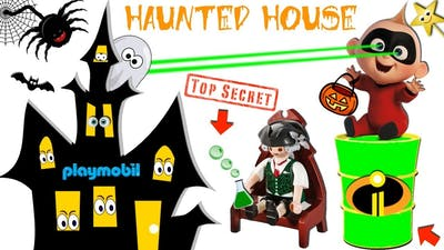 The Incredibles 2 TRICK OR TREAT - HALLOWEEN SLIME GAME @ Playmobil Haunted House