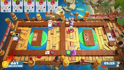 Overcooked 2 - Surf n Turf DLC - Level 3-3 - 4 Stars - 2 Player co-op