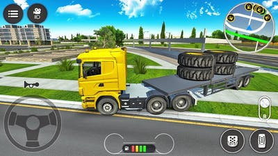 Trailer Truck Transporting Heavy Duty Tires - Construction Simulator 2021 - Android Gameplay