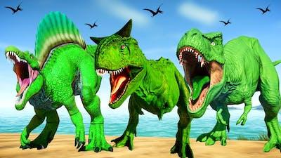 Green Dinosaurs Fighting in Jurassic World Evolution - T-Rex vs Spinosaurus vs Carnotaurus