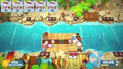 Overcooked 2 - Surf n Turf DLC - Level 2-2 - 4 Stars - 2 Player co-op