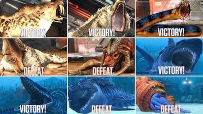 ALL CENOZOIC & ALL AQUATIC VICTORY & DEFEAT SCENE. Mosasaurus Gen 2 | Jurassic World The Game