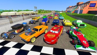 All Cars VS Hot Wheels Race Nurburgring Lightning McQueen Jackson Storm Cruz Ramirez & Friends