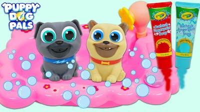 Disney Jr Puppy Dog Pals Bingo & Rolly Bath Time Fun with Crayola Bath Tub Paint!