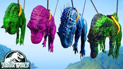 T-Rex Vs I-Rex Vs Spinosaurus Vs Carnotaurus Dinosaurs Fighting Jurassic World Evolution