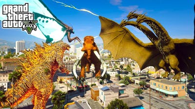 Nuclear Godzilla, Mothra Vs King Ghidorah, Titanus Behemoth  (GTA V Mods)