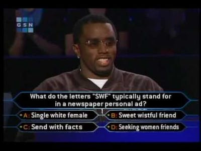 """1/2 Sean """"puffy"""" Combs on celeb millionaire (high quality)"""