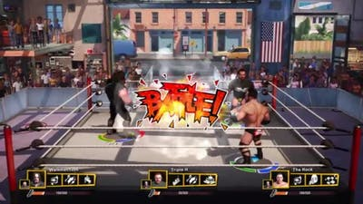 WWE 2K Battlegrounds The Undertaker VS The Rock,Triple H Triple Threat Match